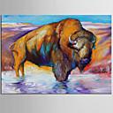 Ručno oslikana Sažetak / Životinja ulja na platnu,Moderna / Klasika Jedna ploha Platno Hang oslikana uljanim bojama For Početna Dekoracija