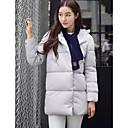 Dámské Standardní Dlouhý kabát Jednoduché Běžné/Denní Jednobarevné-Kabát Polyester Prachové kachní peří bílé Dlouhý rukávModrá / Růžová /