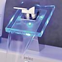 現代風 センターセット LED / 滝状吐水タイプ with  セラミックバルブ シングルハンドルつの穴 for  クロム , バスルームのシンクの蛇口