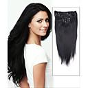 15palcové 7ks rovnou 100% remy vlasy klip v lidských prodlužování vlasů # 1-Jet Black