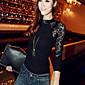 SWD modni čipka srastanje dugi rukav košulje (siva, crna)