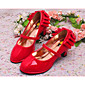 Ravne cipele Proljeće Ljeto Osvijetlite Shoes Umjetna koža Formalne prilike Ležeran Kockasta potpetica Mašnica Crna Crvena