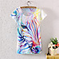 Women's Casual/Daily Simple Summer T-shirt,Print Short Sleeve White Cotton / Polyester Medium