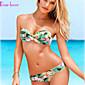 Ženski Bikini - Bandeau grudnjak - Push-up/Podstavljeni grudnjak/Grudnjak sa žicom - S cvjetnim printom/Zavoji - Poliester/Spandex