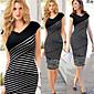 Women's Casual V-Neck Sleeveless Dresses (Cotton Blend)