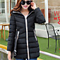 Women's Blue/Pink/Red/White/Black/Beige Parka Coat , Casual Long Sleeve