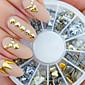 Nové 300pcs punková nýt nehtové tipy zlatá stříbrná kovová nail art tipy módních kovové knoflíky samolepky novou módu