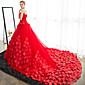 Plesové šaty Svatební šaty Super extra dlouhá vlečka Bez ramínek Satén / Tyl s Květiny
