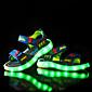 男の子-カジュアル-PUレザー-フラットヒール-靴を点灯-サンダル-ダークブルー グレー ライトブルー