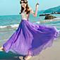 Suknje-Ljuljačka Jednobojni Chiffon-Boho Visoki struk-Plaža Vjenčanje Maxi Elastičnost Rayon Πολυεστέρας Neelastičan Ljeto