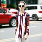 Majica Ženske,Ulični šik Izlasci Cvjetni print-Dugih rukava Kragna košulje-Proljeće Ljeto Bijela Svila