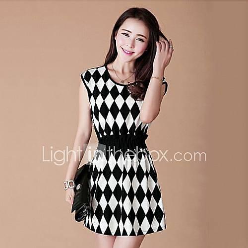 Vestido quadriculado preto e branco